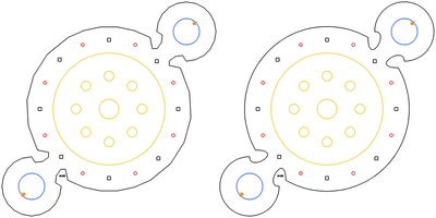 Result: left with fewer, right with more Bezier segments