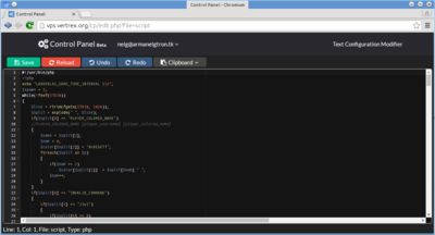 Text editor with php script loaded
